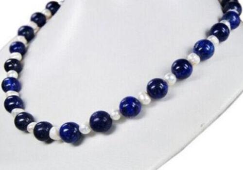 "7-8 mm Blanc Naturel Perle /& 10 mm LAPIS LAZULI perles rondes collier long 16/"""