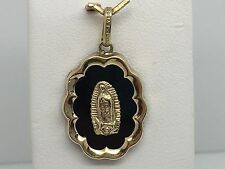 10K YELLOW GOLD BLACK ONYX MARY RELIGOUS MEDAL PENDANT CHARM