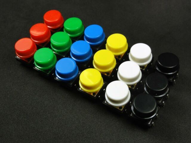 18 Tact Switches Red, Green, Blue, Yellow, White, Black Arduino Raspberry Pi