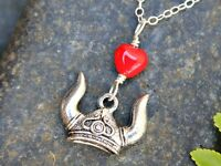 Viking Love Necklace - Horned Helmet, Red Glass Heart - Sterling Silver Chain