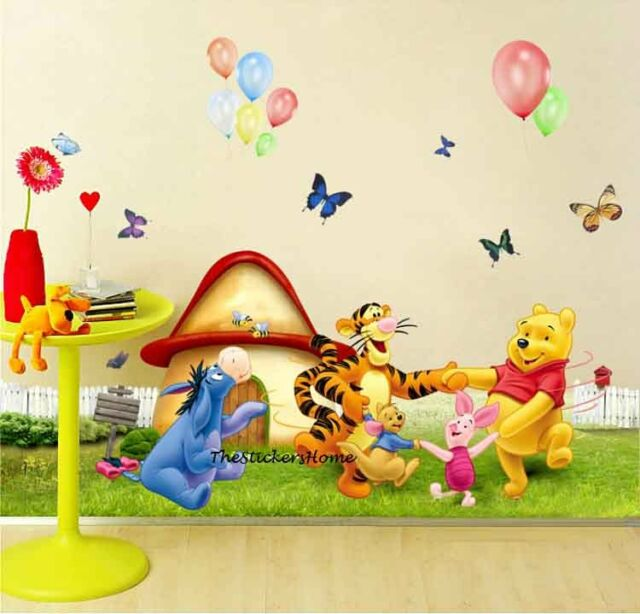 Removable Winnie The Pooh Friends Party Wall Stickers Kids Nursery Decal Paper