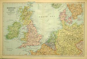 1902-Ancien-Carte-Iles-Britanniques-Irlande-Ecosse-Angleterre-Danemark-Belgique