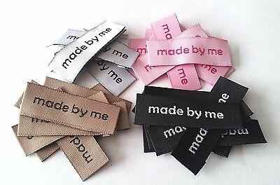 """20 Etiketten Aufnäher /""""Handmade/"""" Label 4,4 x 1,4 cm Applikation /""""made by me/"""""""