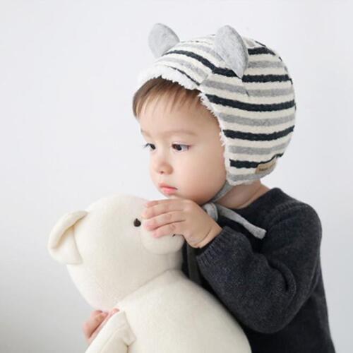 Baby Toddler Kids Boy Girl Striped Children Lovely Ears Soft Hat Beanie Cap 1-2T