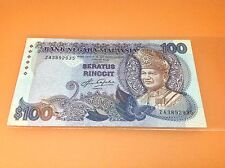 XT MALAYSIA 5TH SERIES AZIZ TAHA RM 100 FIRST PREFIX ZA 3892935 RARE NICE NUMBER