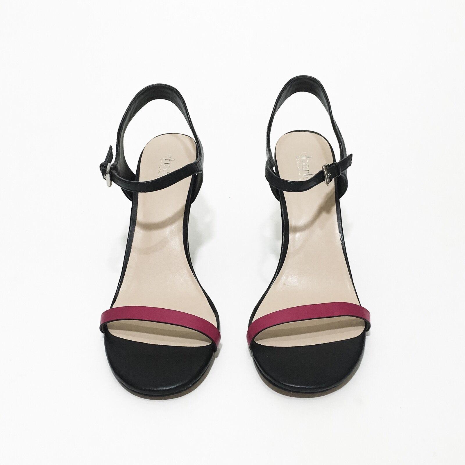 NEW Charles David Women Fuchsia Black Reverse Sandal Heels shoes Size 9.5