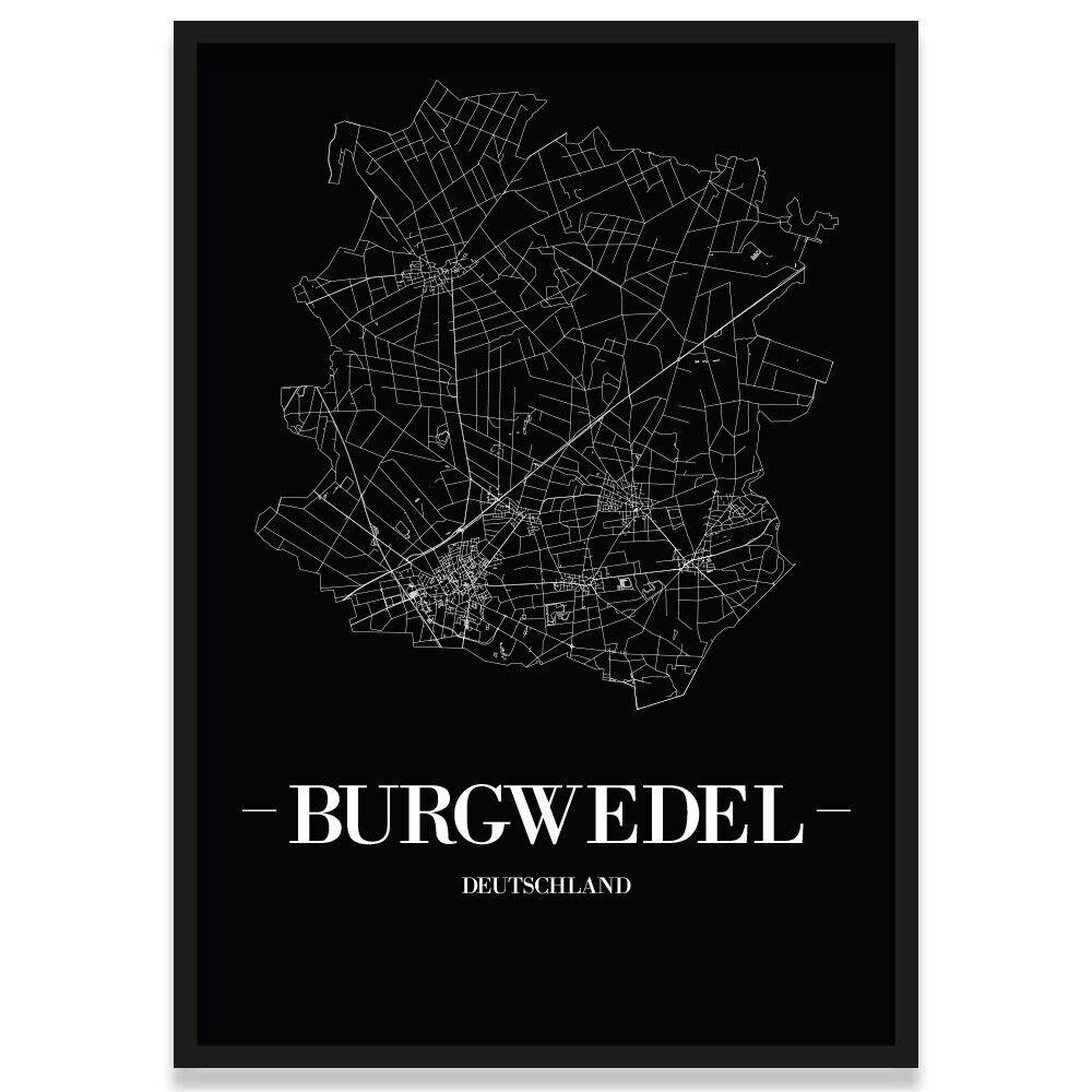 JUNIWORDS Stadtposter, Burgwedel, Schwarz, Kunstdruck Plan Map