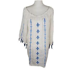 Raviya Womens XL White Embroidered Tassles Swim Cover Up BOHO Flowy. KD