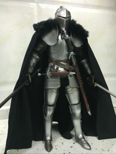 """Black 1:6 Scale Coomodel royal knight cloak Cape W Fur collar For 12/"""" Figure Toy"""