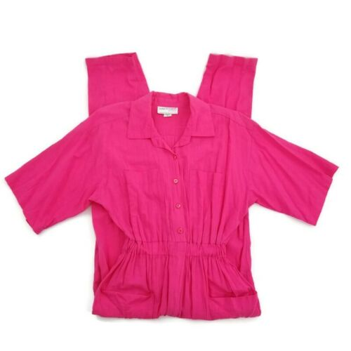 Vtg 80s 90s Romper Jumpsuit One Piece Hot Pink Wom
