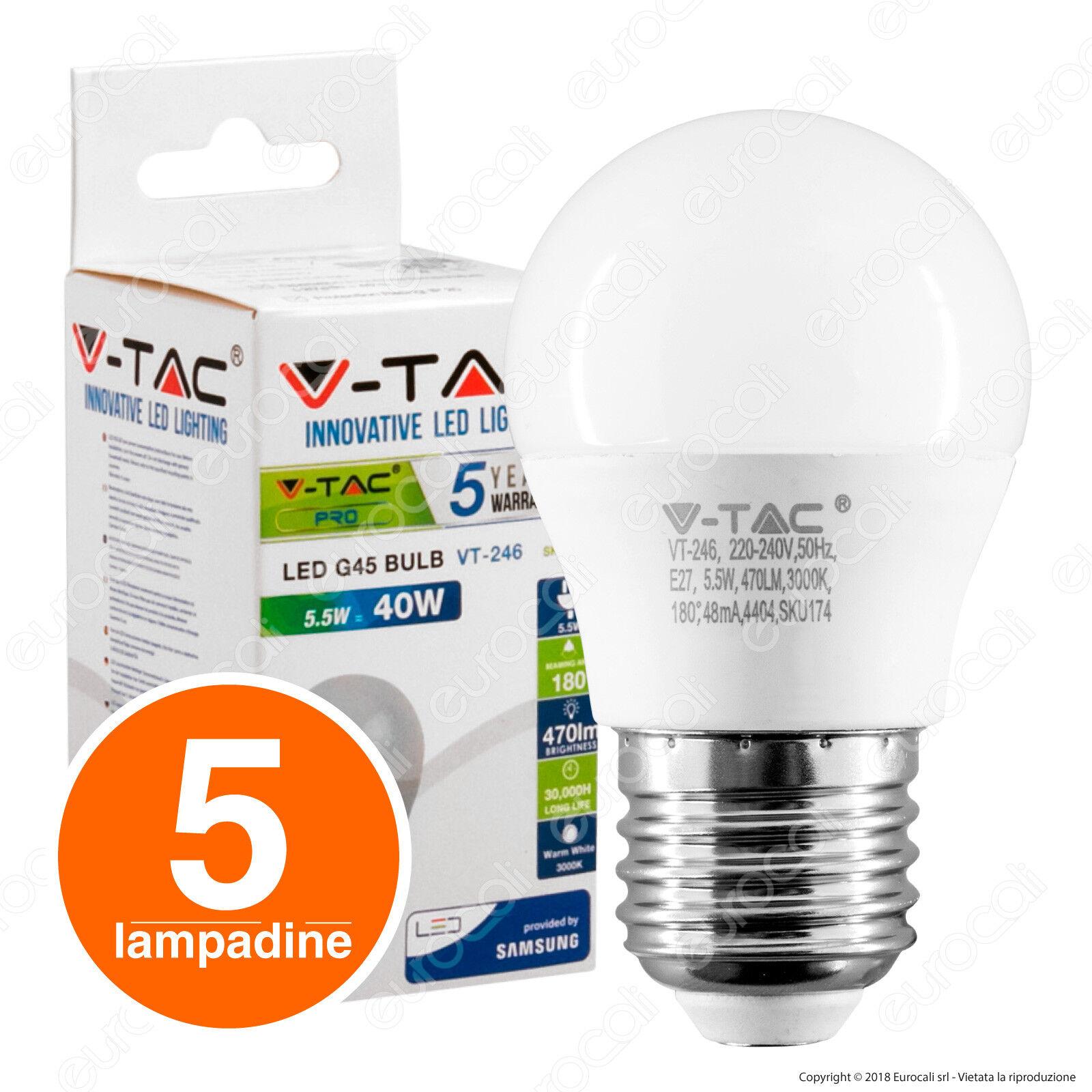 5 LAMPADINE LED V-Tac E27 E14 GU10 GU10 GU10 GU5.3 G9 scelta kit da 2W a 20W Lampada Vtac 5e1ccd