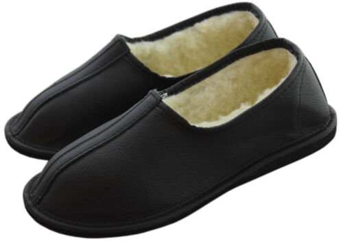 Womens Mens Unisex Natural Leather And Sheep/'s Wool Slipper Boots