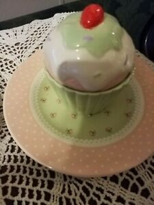 Ceramic  Large Cupcake With Lid And Plate Sit On Shabby Chic 3 Piece