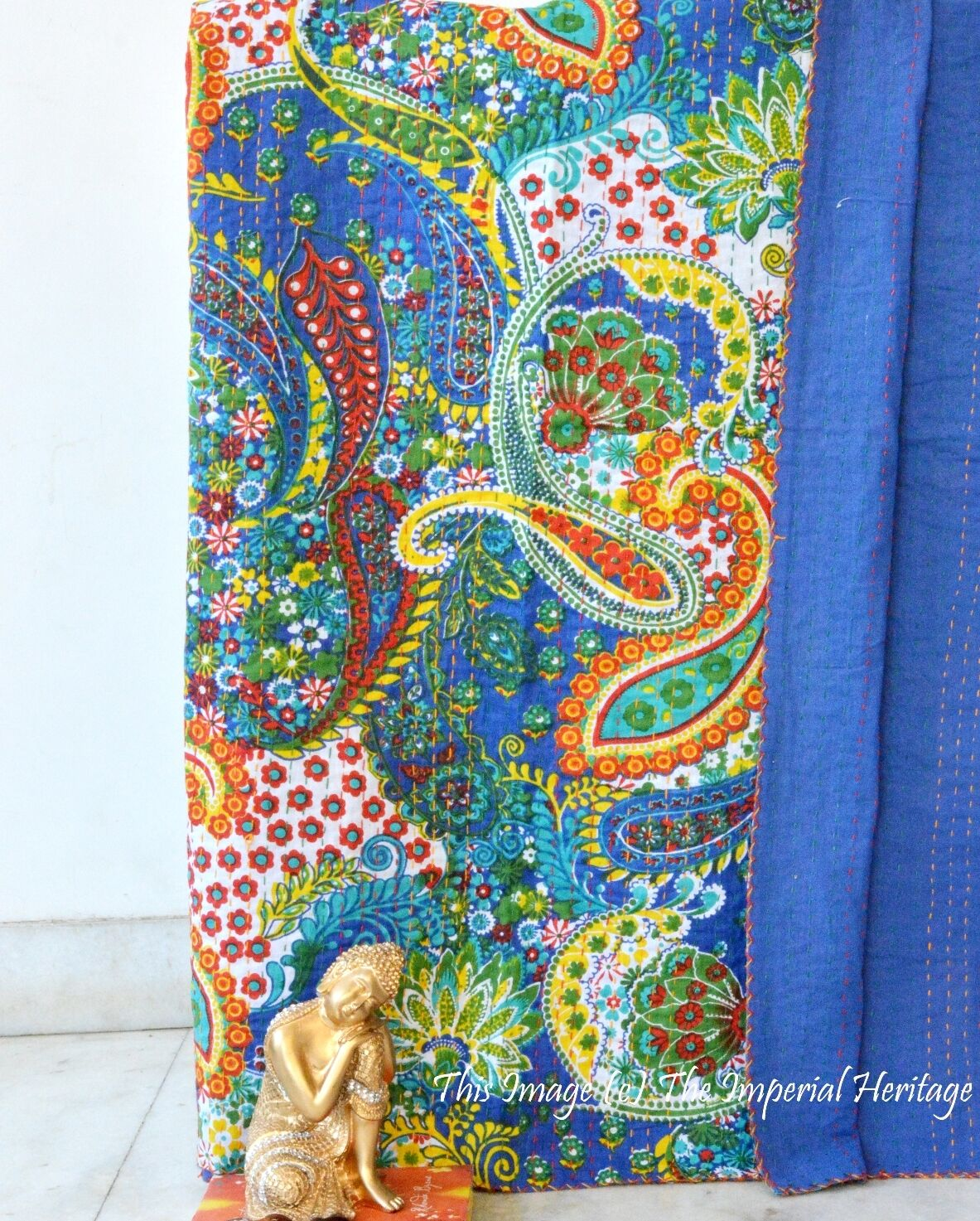 Indian Handmade Cotton Kantha Paisley Blanket Quilt Throw Twin Cotton Bed Cover