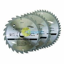 "3 x 205mm (8"") TCT Circular Saw Blades 30mm Bore 16 18 & 25 mm Reduction Rings"