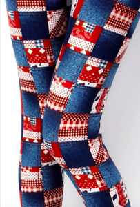 Women-039-s-Denim-amp-Plaid-Red-Patchwork-Print-Leggings-Buttery-Soft-ONE-SIZE-OS-2-12