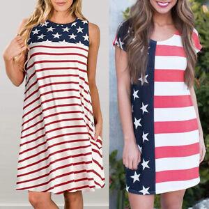 e069ab7e Details about Fashion Women Casual Patriotic Stripes Star American Flag  Print Short Mini Dress