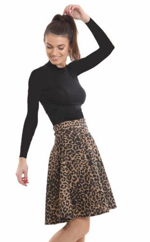 New Womens Ladies Plain Knee Length Soft Stretch Skater Midi Skirt Regular/&Plus