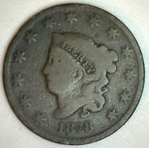 1828 Coronet Large Cent US Copper Type Coin Good Genuine Penny N3 1c