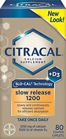 3 Pack - Citracal With Calcium D Slow Release 1200, 80 Coated Caplets Each on sale
