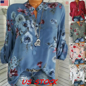 Women-Long-Sleeve-V-neck-Floral-Tops-Blouse-Casual-loose-Fashion-Shirt-Plus-Size