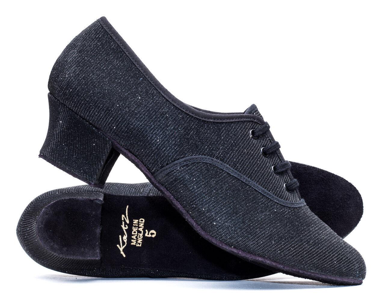 Black Glitter Cuban Heel Suede Sole Lace Up Practice Stage Ballroom Shoes Katz