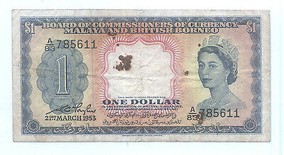RARE 1953 MALAYA AND BRITISH BORNEO , SINGAPORE $1 CURRENCY MONEY BANKNOTE (#1)