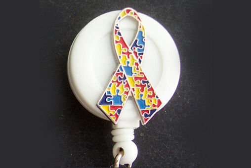 AUTISM AWARENESS Puzzle Retractable ID Badge Reel Key chain Security Card Holder