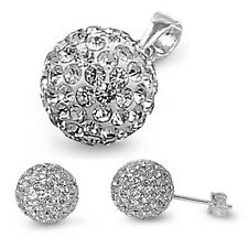 "CZ Crystal Fire Ball .925 Sterling Silver Earrings & Pendant Set .75"""
