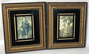 Vintage Antique Black and Gold Ornate Picture Framed Art Works