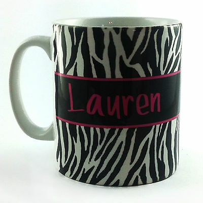 PERSONALISED WITH ANY NAME TEXT MESSAGE ZEBRA PRINT MUG CUP PRESENT GIFT SKIN