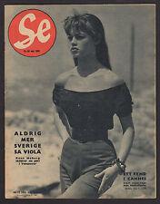1955 SWEDEN SWEDISH VINTAGE SE MAGAZINE 19/1955 BRIGITTE BARDOT ON COVER