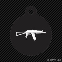 Aks74u Keychain Round With Tab Dog Engraved Many Colors Ak Ak74