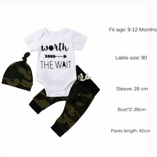Print Boy Clothes Worth The Wait Army Green Baby Romper Camouflage Long Pants