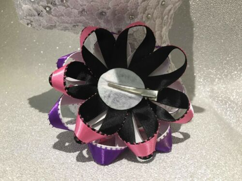 Handmade purple//pink//black//white candy skull Halloween large Romany hair bows