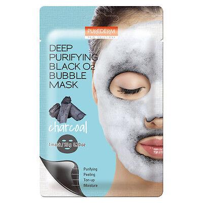[PUREDERM] Deep Purifying Black O2 Bubble Mask Charcoal 1/3/5pcs Lot - BEST