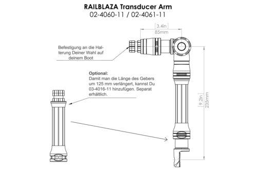 Plattform 160x60mm Set: Railblaza 2x RibPorts + Geberstange Kleber Belly