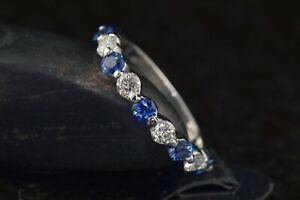 1Ct-Round-Blue-Sapphire-Half-Eternity-Wedding-Band-Ring-14K-White-Gold-Finish