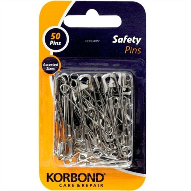 Korbond Pack of 50 Silver Safety Pins Assorted Sizes Quick Secure Fixings