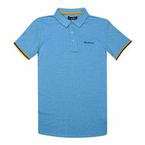 Boy/'s Ben Sherman Junior Collar Print Polo Shirt in Blue