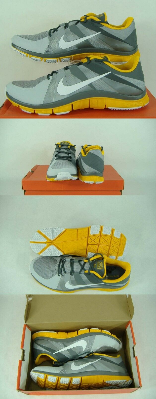 New Mens 18 NIKE Free Trainer 5.0 TB Gray Yellow Running Shoes 90 522351-071
