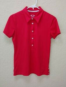 Oakley Womens Polo Shirt Small Red Short Sleeve Top Side Buttons