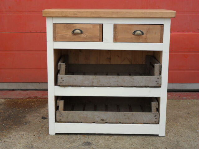 Rustic 2 Drawer Open Kitchen Cafe Cupboard With Crates Solid Handmade