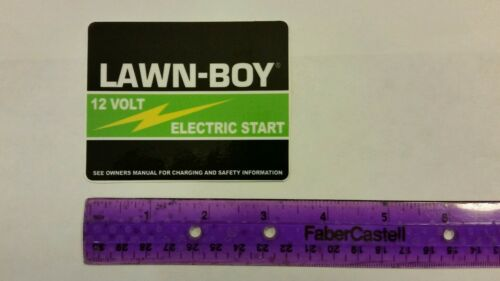 Oem part # 612518. Reproduction 80s lawn-boy electric start battery cover decal