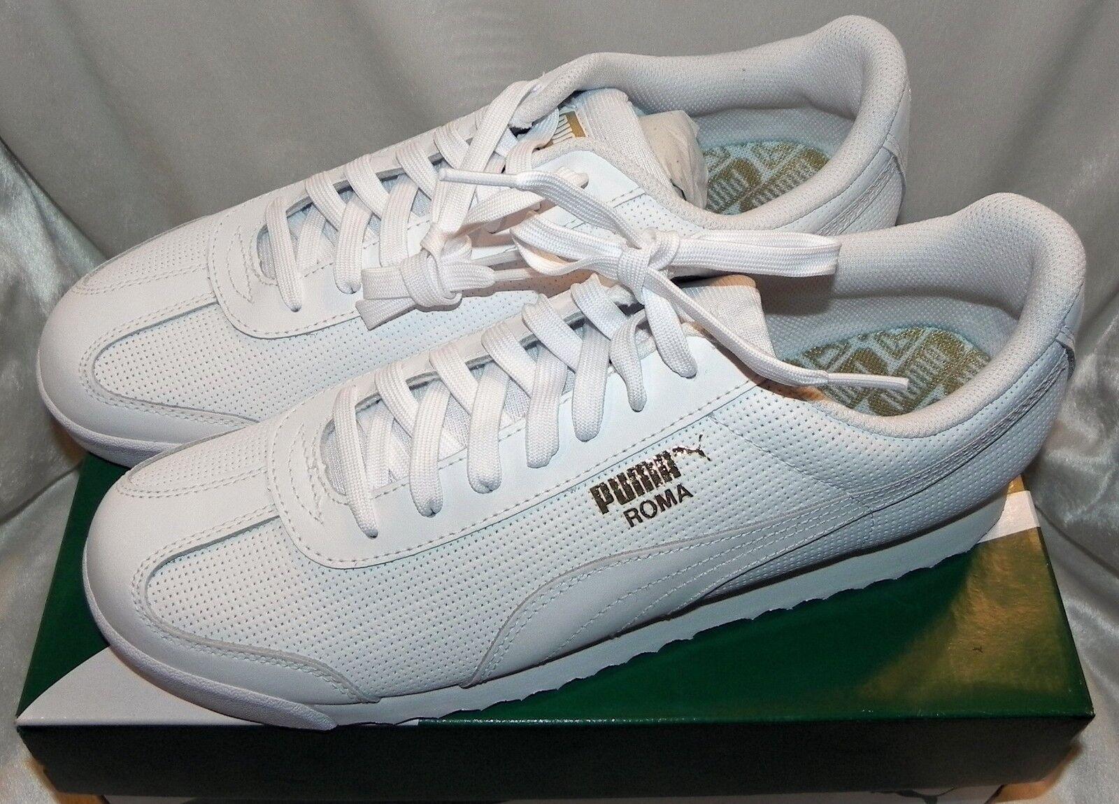Puma Men's   Roma Classic Perf Sneaker White Size 11 New With Box