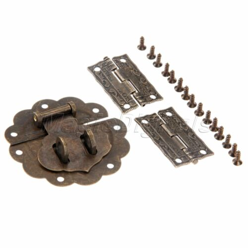Archaistic Cabinet Drawer Jewelry Box Latch Hasp /& Carved Flower Hinge Set Decor