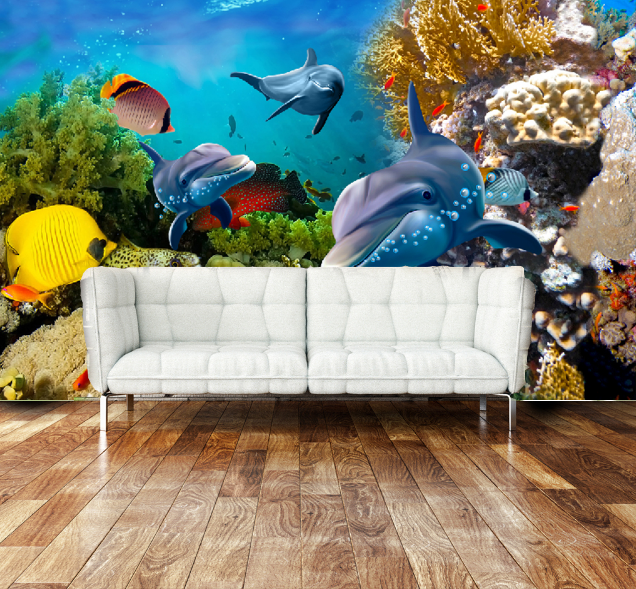 3D Dolphin Bule 462 Wallpaper Murals Wall Print Wallpaper Mural AJ WALL AU Lemon