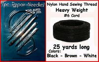 7 Pieces Black Needle Kit Heavy Nylon Hand Sewing Thread For Leather & More