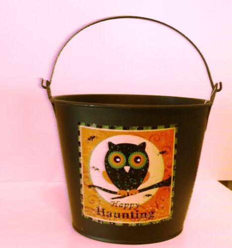 BLACK METAL OWL HAPPY HAUNTING HALLOWEEN CANDY BUCKET DECORATION FALL AUTUMN