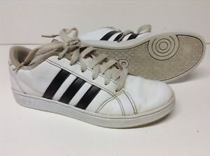 Details about Adidas Baseline K Youth Size 3 White Athletic Sneakers White  Black AW4299